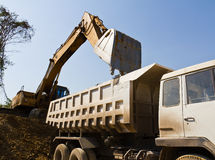 Excavator loader and truck Royalty Free Stock Images