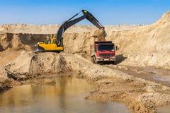 Excavator Loading Dumper Truck Stock Photography