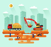 Excavator loading sand into a truck. Flat design vector landscape illustration of construction process in the city. Excavator loading sand into a truck, workers Royalty Free Stock Photography