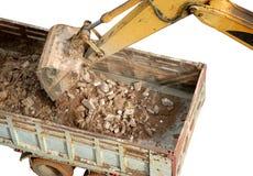 Excavator loading stone and sand Royalty Free Stock Photo