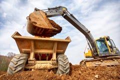 Excavator loading Stock Photo