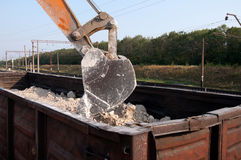 Excavator loads gravel Stock Images