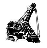 Excavator logo, emblem, sign. Monochrome graphics 3D, the rendered image in the form of a variable curve Stock Images