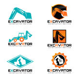 Excavator and logo vector illustration set design Stock Photos