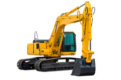 Excavator with Long Arm. Excavator painted in yellow isolated on white background Royalty Free Stock Image