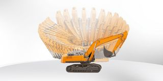 Excavator machine 360 angles in one Royalty Free Stock Photos