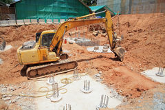 Excavator machine on construction site Royalty Free Stock Images