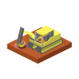 Excavator machine dig ground isometric vector. Excavator machine dig ground isometric style colorful vector illustration Stock Images
