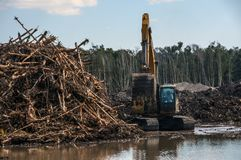 An excavator machine piling dead trees. Pembroke Pines, Florida/USA - February 2 2011: Developers clear ground for new construction royalty free stock photos