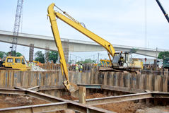 Excavator Machine used to excavate soil at the construction site. SELANGOR, MALAYSIA – SEPTEMBER 05, 2014: Excavators is heavy construction machine used stock photography