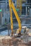 Excavator Machine used to excavate soil at the construction site. SELANGOR, MALAYSIA -JANUARY 02, 2016: Excavators machine is heavy construction machine used to stock image