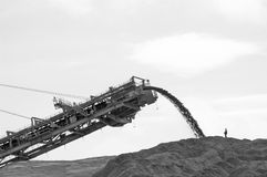 Excavator and man black white. Big excavator in coal open-cast mine and working man Stock Image