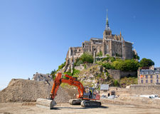 The excavator near Mont Saint Michel Royalty Free Stock Image