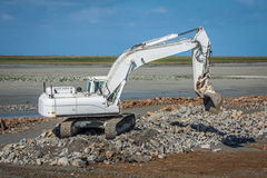 Excavator on new construction site Royalty Free Stock Photos