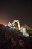 Excavator at night Royalty Free Stock Images
