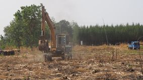 An excavator operates on agricultural land stock video