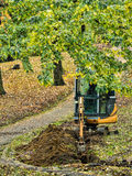 Excavator in park Royalty Free Stock Photography