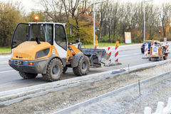 Excavator parking at Road Work in Munich Stock Image