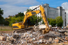 Excavator parses trash Stock Photo