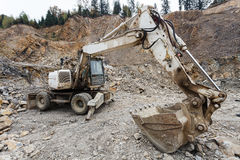 Excavator in a quarry. Close view stock photography
