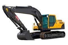 Excavator ready for work. Isolated on white background Royalty Free Stock Photo