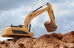 Excavator (rear view) Stock Photos