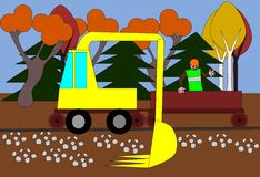 Excavator regulates the terrain around the track Royalty Free Stock Images