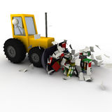Excavator removing chaos. 3d Excavator removing chaos of documents and files Stock Photography