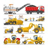 Excavator for road construction vector digger or bulldozer excavating with shovel and excavation machinery illustration. Set of constructive vehicles and Royalty Free Stock Photos