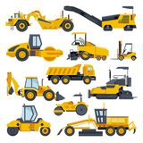 Excavator road construction vector digger or bulldozer excavating with shovel and excavation machinery illustration set. Of constructive vehicles and digging vector illustration