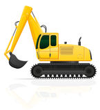 Excavator for road works vector illustration Stock Photos
