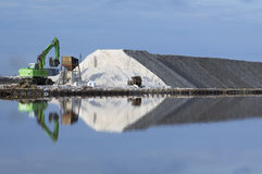 Excavator on a salt factory Stock Photography