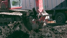 Excavator scoop dig soil polluted with oil toxic materials and load into truck. Cleaning planet mother earth. Closeup follow shot stock video footage