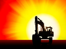 Excavator silhouette background Royalty Free Stock Photo