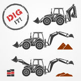 Excavator silhouettes. Three gray excavator silhouettes with dirt and barrels Royalty Free Stock Images