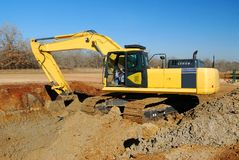 Excavator on site Stock Photography