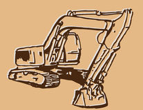 Excavator Sketch Royalty Free Stock Photography