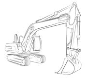 Excavator sketch. Royalty Free Stock Photography