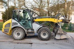 Excavator standing on steel platters, ready for work Stock Images