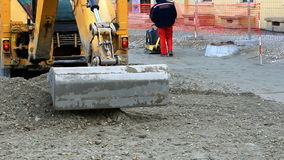 Excavator on street works stock video