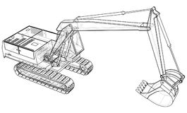 Excavator technical wire-frame. Vector rendering of 3d. Royalty Free Stock Images