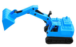 Excavator toy isolated. Blue excavator toy isolated on white background Stock Photos