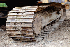 Excavator track loaders disrepair. Construction excavator track  loaders disrepair Stock Images