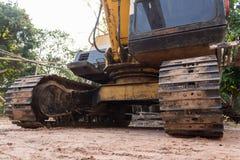 Excavator tracks industrial. Machinery diry Stock Photo