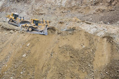 Excavator Tractors Moving Dirt Royalty Free Stock Photography