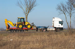 Excavator on a trailer Royalty Free Stock Photo