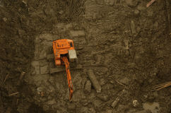 Excavator in trench. Excavator isolated in a construction site Stock Photography