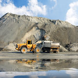 Excavator and truck   Stock Photo
