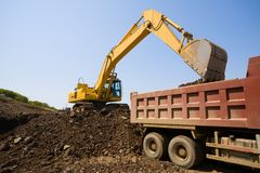 Excavator & truck Stock Photography