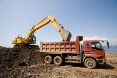 Excavator and  truck Stock Photos